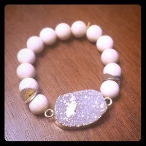 Druzy & Stone Bead Stretch Bracelet